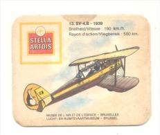 """Sous-bock - Bière """" Stella Artois """" Aviation - Armée Belge 1939 - Avion SV - 4 B  (b156) - Sous-bocks"""