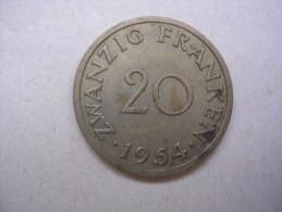 Sarre - 20 Franken - 1954 - [ 8] Saarland