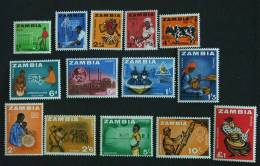 Zambia 1964 Mais Danseur Coton Zébu Communication Pêche Tabac éléphant Mines Scierie Olifant Mijnen Yv 4-17 MNH ** - Zambia (1965-...)