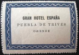 HOTEL ALBERGO HOSTAL RESIDENCIA PUEBLA ORENSE SPAIN ETIQUETA LUGGAGE LABEL ETIQUETTE AUFKLEBER DECAL STICKER MADRID - Hotel Labels
