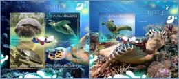 mld14806ab Maldives 2014 Turtles 2 s/s