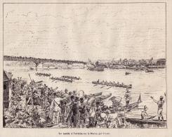 Gravure : Julien,  Le Match à L'aviron Sur La Marne, Extraite D´un Périodique De 1883 - Stampe & Incisioni