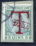 ALBANIA  1914  Postage Due Overprint On Skanderbeg 5 Q. Used On Piece Michel Porto 2 - Albania