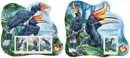 gb14601ab Guinea Bissau 2014 Shell Birds Rhinoceros Hornbill 2 s/s Ex Malaysia 2014