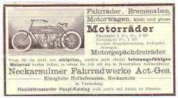 Original Werbung - 1906 - NSU , Motorrad , Neckarsulm , Moto , Motorräder !!! - Motor Bikes