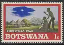 Botswana 1968 Mi 47 YT 199 Sc 47 ** African Family, Huts, Village, Star – Christmas / Dorf, Hütten, Weihnachtsstern - Botswana (1966-...)