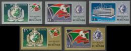 Burundi 1973 Mi 926 B A /930 B ** Interpol Emblem, Flag, Headquarters  – 50th Ann. Interpol / Emblem, Flagge, Gebäude - Burundi