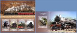 st14418ab S.Tome Principe 2014 Steam trains 2 s/s