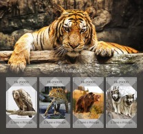 st14411a S.Tome Principe 2014 Predators s/s Bird Tiger leopard Bear Wolfs