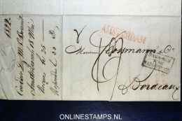 Complete Brief 1822 Van Amsterdam (Langstempel) Naar Bordeaux, Pays-Bas Par Valenciennes - Niederlande