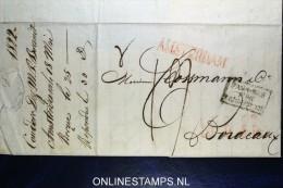 Complete Brief 1822 Van Amsterdam (Langstempel) Naar Bordeaux, Pays-Bas Par Valenciennes - Pays-Bas