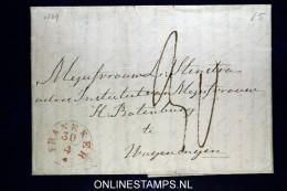 Nederland, Complete Vouwbrief  1849 Van Franeker Naar Wageningen - Niederlande