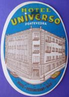 HOTEL ALBERGO RESIDENCIA UNIVERSO PONTEVEDRA SPAIN ETIQUETA LUGGAGE LABEL ETIQUETTE AUFKLEBER DECAL STICKER MADRID - Hotel Labels