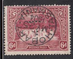 Tasmania Used Scott #93 6p Dilston Falls SON Cancel: 'Hobart MY 25 1904 Tasmania'  Perfin: ´T´ - Oblitérés