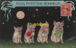 CPA NOUS PORTONS BONHEUR COCHON PIG VARKEN MODELE EXCLISIF FLEURMONT - Cochons
