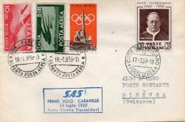 1959 AREOGRAMMA ITALIA VATICANO PER GINEVRA 1 VOLO CARAVELLE - Vaticano (Ciudad Del)