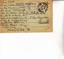 CARTE POSTALE DE 1918 -OBLITERATION MANUELLE -- HOPITAL D'EVACUATION -LYON - BROTTEAUX - Marcophilie (Lettres)