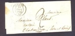 LOIR ET CHER 41 VENDOME LAC Tad Type 14 Du 19 Septembre 1844 Et Taxe 2 Tampon Pour Chateaudun SUP - 1801-1848: Précurseurs XIX