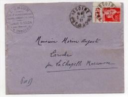 1937 - ENVELOPPE Avec CACHET COMMERCIAL D´ISSOIRE (PUY DE DOME) + TYPE PAIX Avec BANDE PUB - France