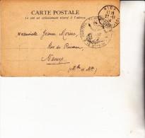 CARTE POSTALE DE 1914 - OBLITERATION MANUELLE - HOPITAL TEMPORAIRE - NICE - Marcophilie (Lettres)