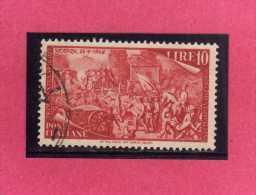 ITALIA REPUBBLICA ITALY REPUBLIC 1948 RISORGIMENTO LIRE 10 USATO USED OBLITERE´ - 1946-60: Gebraucht