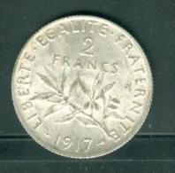 2 Francs 1917 - Semeuse - Argent- SILVER  bel etat   - pia7510