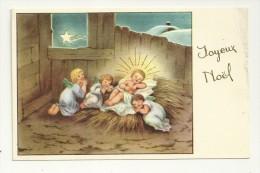 Joyeux Noël. Crèche. Trois Petits Anges Endormis. Enfant Jésus. 1955. Dorée JC - Zonder Classificatie