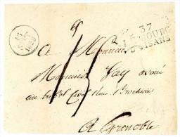 ISERE ENV 1829 37/ LE BOURG / D´OISANS TAXE 15 MENTION DE POIDS 65 GRAMMES DATEUR  INDICE 12 COTE 80 € => GRENOBLE - 1801-1848: Precursors XIX