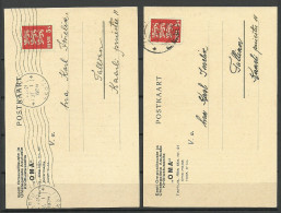 "Estland Estonia 1934 = 2 Interesting Official Commercial Post Cards Insurance Company ""OMA"" Versicherung - Estland"