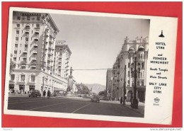 H929 HOTEL UTAH AND PIONEER MONUMENT SALT KAKE CITY 1955 TIMBRE   CACHET - Salt Lake City