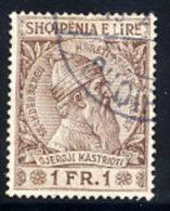 ALBANIA  1913 Skanderbeg Definitive 1 Fr. Used.. Michel 34 - Albania