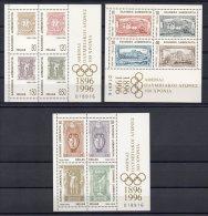 Greece 1996 / Mi BL 13/15 (1896/1907) - Olympic Games Centenary - Set New MNH ** - Summer 1996: Atlanta
