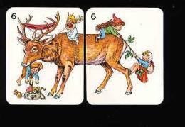 Image Puzzle Humour / Renne , Elfe Et Lutins - Sac De Champignons - Pelote De Laine / Humor Animal Deer Mushroom /IM 119 - Vieux Papiers