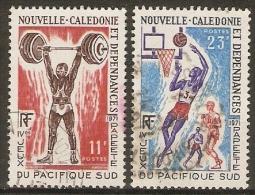 NOUVELLE  CALEDONIE      1971    Y&T N° 375 à 376 Oblitérés.  Haltérophilie / Basket. - Nuova Caledonia
