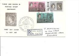 Timbres Sur Timbres ( FDC Des Turks Et Caiques De 1967 Voyagé En Recommandé Vers La Grande-Bretagne à Voir) - Briefmarken Auf Briefmarken