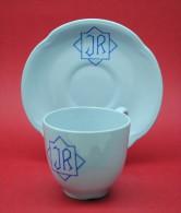 """PORTUGAL - CHAVENA DE CAFÉ E PIRES COM MONOGRAMA """"J R"""" - SACAVEM - Ceramics & Pottery"""