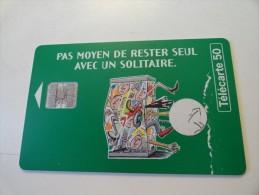 RARE :  IMPRESSION BLANCHE A COTE DE TELECARTE 50 SUR SOLITAIRE - Francia