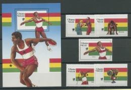 Ghana 1988 Olympiade 1205/09 Block 131 Postfrisch (G4687) - Ghana (1957-...)