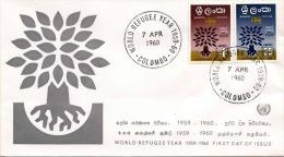Ceylon FDC-Brief 1960, Weltflüchtlingsjahr 1959-60, Schöne Frankierung, Sonderstempel Colombo - Sri Lanka (Ceylon) (1948-...)