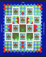 1996  Canada Day  Maple Leaf Quilt  Pane Of 12 Stamps And 5 Labels Sc 1607** - 1952-.... Reign Of Elizabeth II