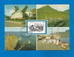 Färöer Inseln 1982 , Vags Kirkja - Gjögv - Maximumkarte - 7. 6. 1982 - 2 Scan - - Faroe Islands