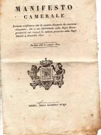 1824 MANIFESTO CAMERALE - LA MONETA D´ARGENTO DA CENTESIMI CINQUANTA  PRESENTERÀ LO STEMMA - Monete & Banconote