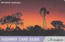 Carte Prépayée Japon - Paysage - AUSTRALIE - Moulin EOLIENNE -  WIND MILL & SUNSET AUSTRALIA Japan Prepaid Card - HW 77 - Paysages