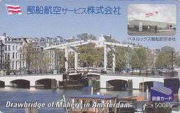 Carte Prépayée Japon - YAS - Site AMSTERDAM Drawbridge Of Mahere / Holland - Pont Bridge Japan Prepaid Tosho Card - Paisajes