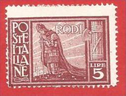 ITALIA COLONIE NUOVO MH - 1932 - EGEO - RODI - Pittorica Con Filigrana Corona - DENT. 14 - £ 5 - S. 63 - Aegean (Rodi)
