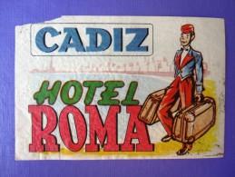 HOTEL RESIDENCIA PENSION ROMA CADIZ SPAIN ETIQUETA LUGGAGE LABEL ETIQUETTE AUFKLEBER DECAL STICKER MADRID - Hotel Labels