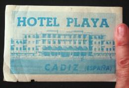 HOTEL RESIDENCIA PENSION PLAYA CADIZ SPAIN ETIQUETA LUGGAGE LABEL ETIQUETTE AUFKLEBER DECAL STICKER MADRID - Etiketten Van Hotels