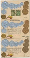 3 Cards Embossed With Gold And Silver Coins One Postally Used Guayaquil - Ecuador
