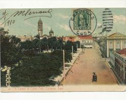 Cardenas A Corner Of Colon Park Maximum Stamp Colon To Tunis 1910 - Cuba