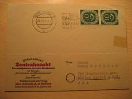 Wurzburg 1954 MOZART Fest Cancel Card To Staten Island NY USA Germany Würzburg - Musik